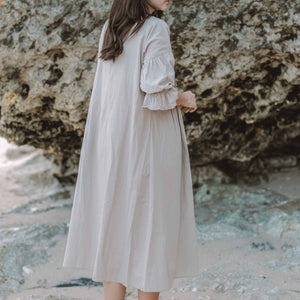 Load image into Gallery viewer, Sand Long-sleeves Midi Dress