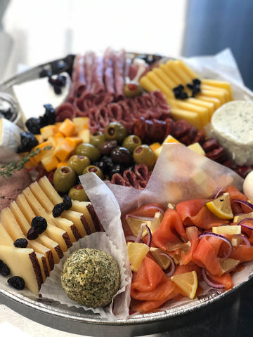 charcuterie platter with smoked salmon and cheeses