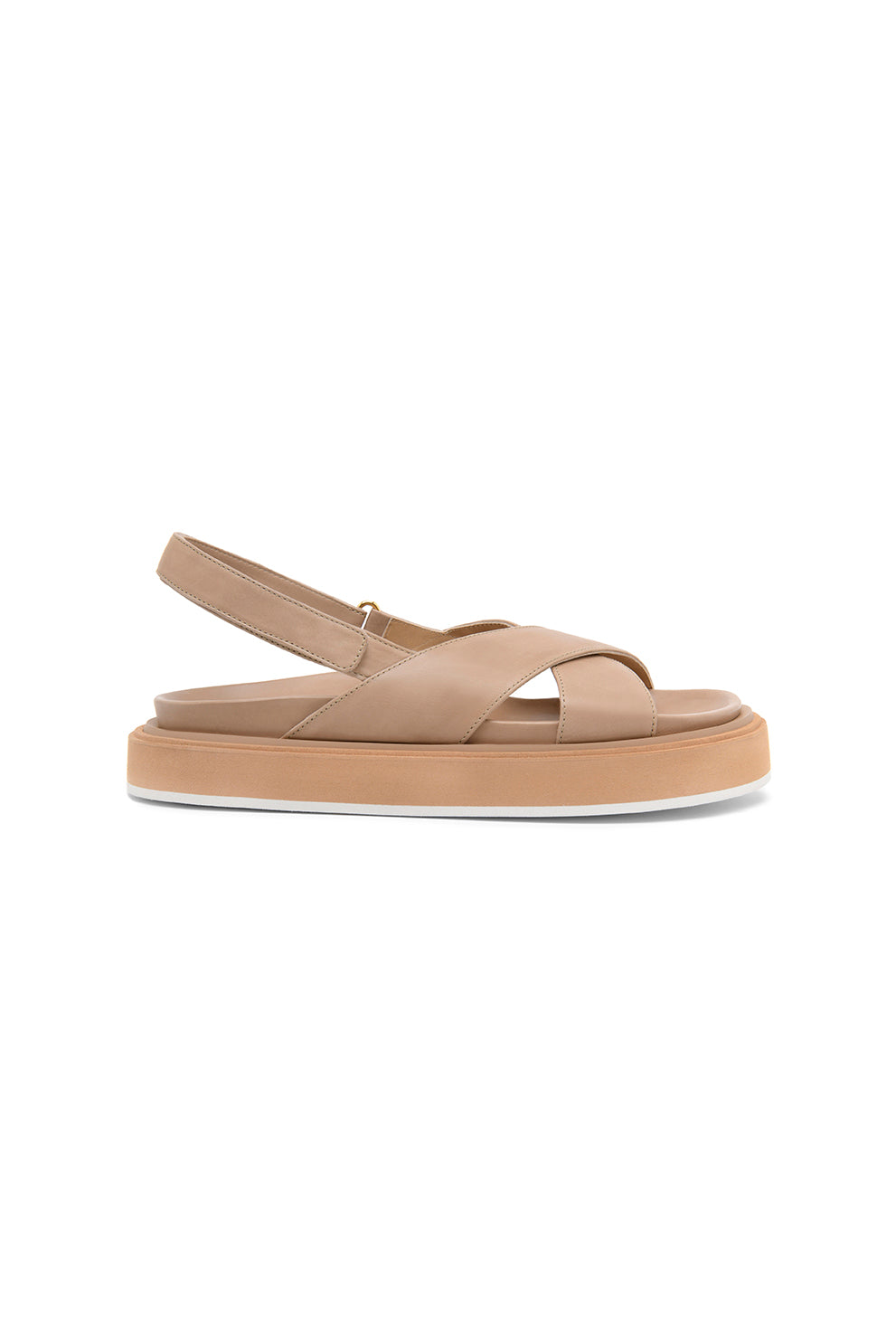 RITA leather platform criss-cross sandal - HAZY