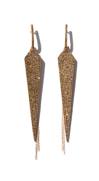 14k YG Diamond Studded Arrow Point Earrings
