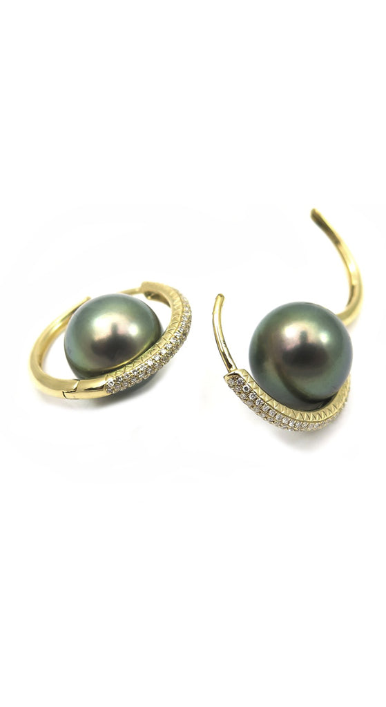 18k Pave Diamond Tahitian Pearls Large Orbit Hoop Earrings