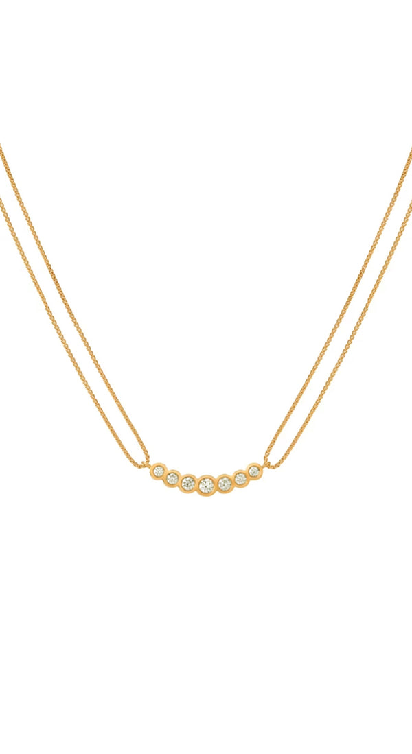 18k Yellow Gold Curved White Enamel Necklace