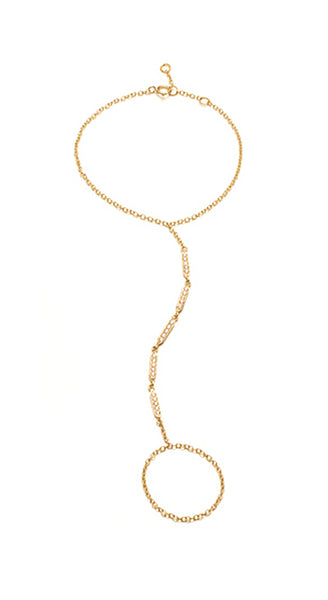 18k Yellow Gold Diamond Stick Hand Chain
