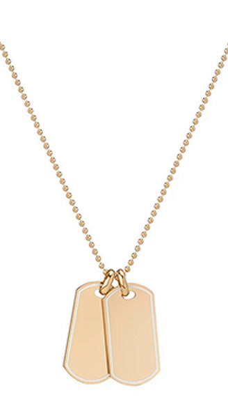 18k Yellow Gold Dog Tag Necklace