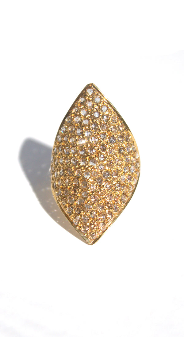 18k Yellow Gold White Rose Cut Diamonds Shield Ring Size 7.25