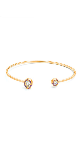 18k Yellow Gold White Sapphires And Pink Sapphire Pave Wire Cuff