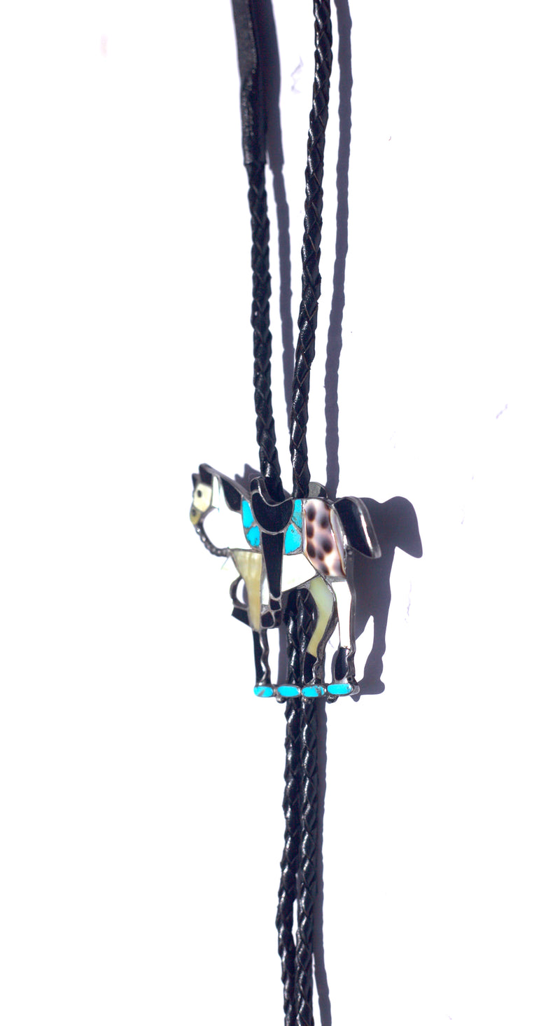 1960's Old Pawn Navajo Horse Turquoise Exotic Shell Bolo
