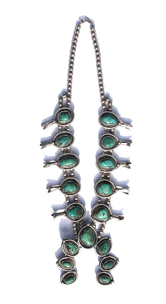 1980'S Old Pawn Sterling Green Turquoise Squash Blossom Necklace