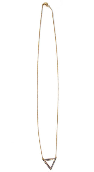 18K Yellow Gold Rhodium Plated Short Triangle With White Diamonds Necklace
