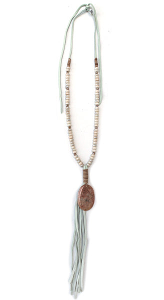 Peach Aventurine Pendant With White/Grey Leather Fringe Necklace