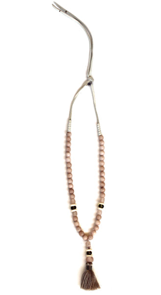 Blush Jade Accented With Ghana Glass On Leather Ties Necklace