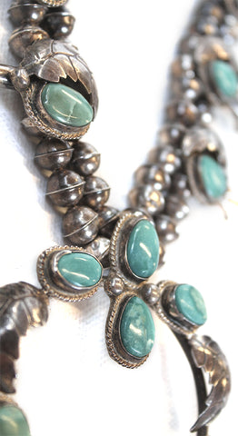 Navajo Sterling Silver Turquoise Leaf Old Pawn Squash Blossom Necklace