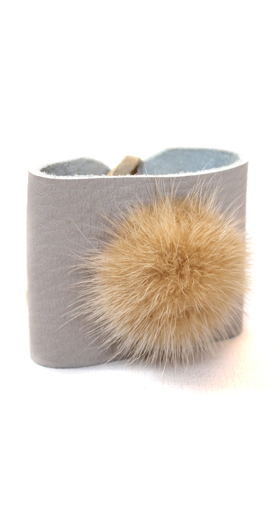 Neutral Leather With Blonde Fox Puff Cuff Bracelet
