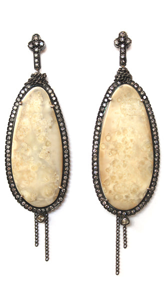 5000 Year Old Walrus Slice Rosecut Diamond Earrings