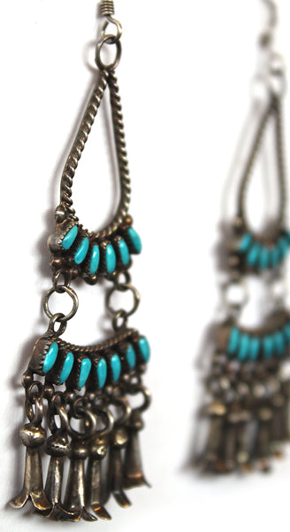 Silver Turquoise Teardrop Tiered Earrings