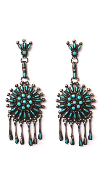 Silver Turquoise Sunburst Cluster Earrings