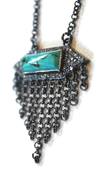 Turquoise Diamonds Chain Fringe Necklace