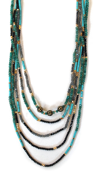 Black Diamond Balls Turquoise With Black Spinel Labradorite Necklace