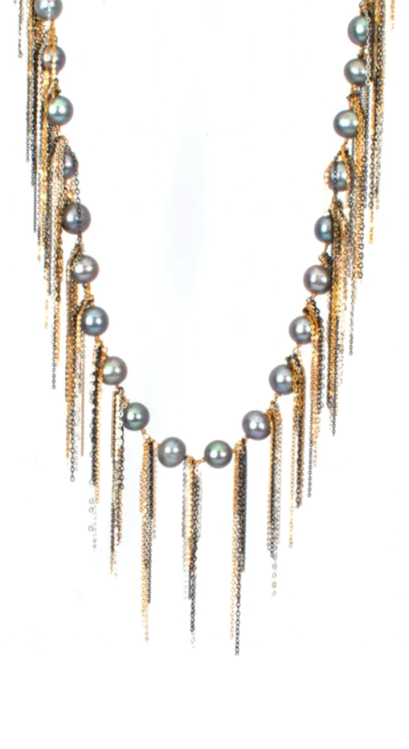 "62"" Silver FWP Oxi Gold Chian Fringe Necklace"