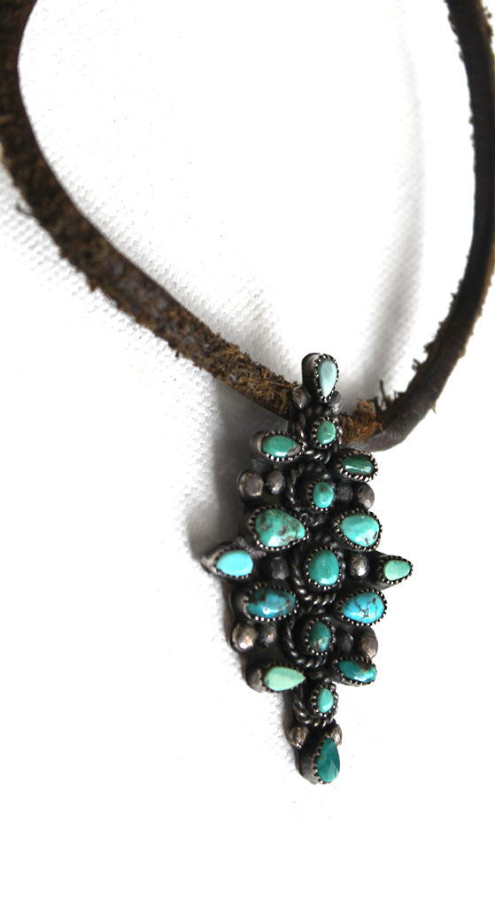 Turquoise Pendant Leather Necklace