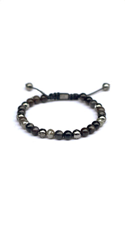 *6mm Bracelet Large Charcoal Grey