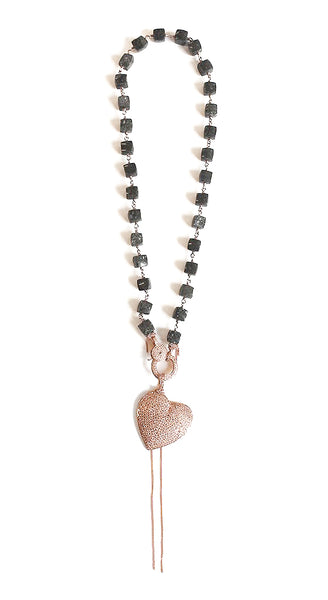 Authentic Einstein Paver Beads Rose Gold Wrap Tilted Rose Gold Pave Heart Necklace