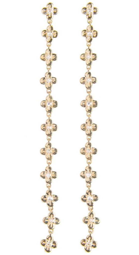 11 Blooms With White Diamonds Earrings