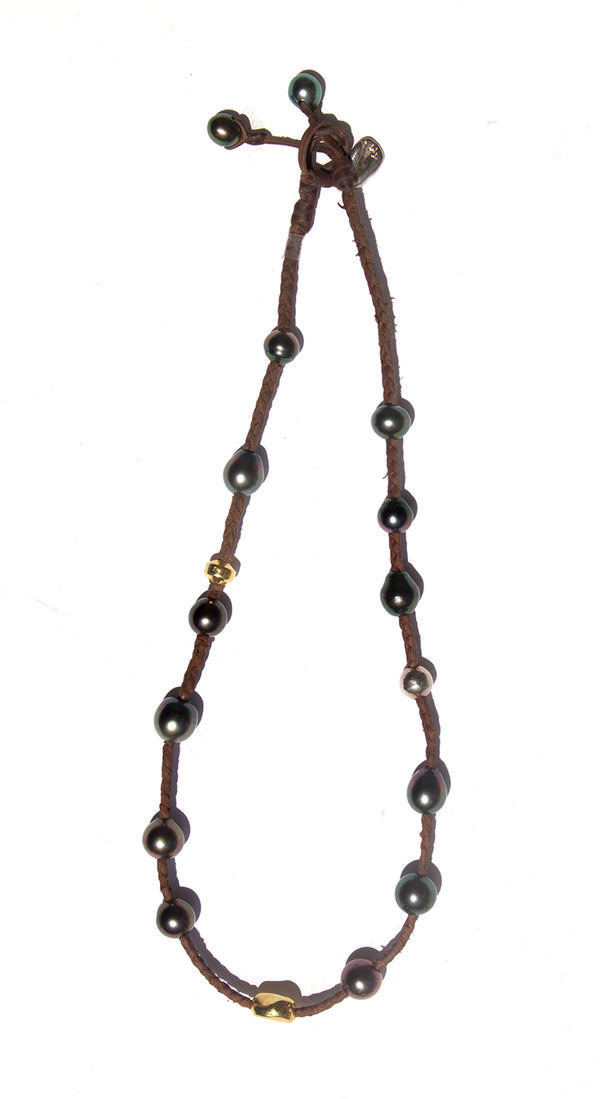 Braided Leather Multiple Pearl Nomade Necklace