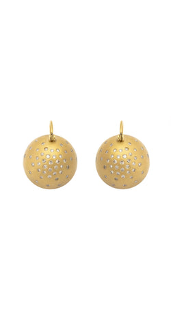 Flying Diamond Spray 18k Gold Matte Ball Hook Earrings
