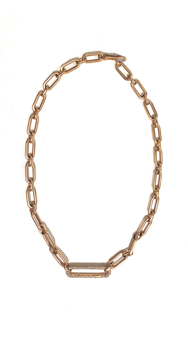 *Heavy Mixed Link Diamond Oval Clasp Necklace