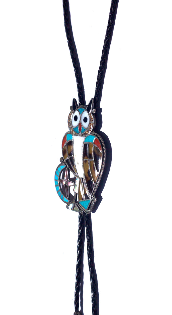 Inlaid Owl Leather Bolo