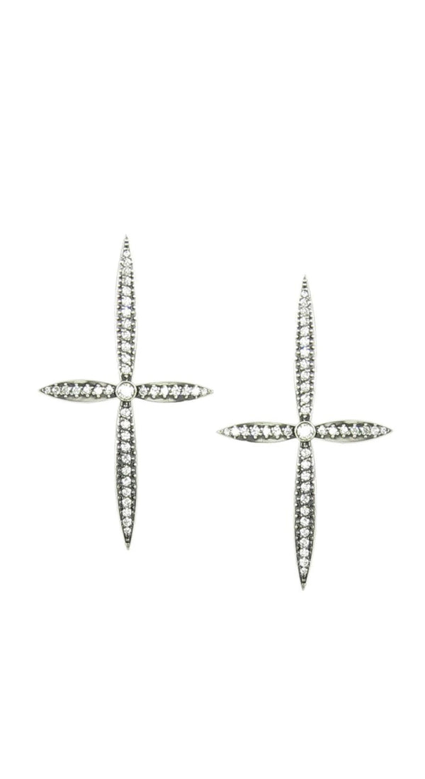 *Large Diamond Cross Earrings