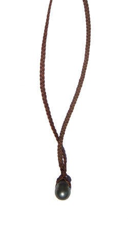 Large Tahitian Acorn Pearl Braided Coco Necklace