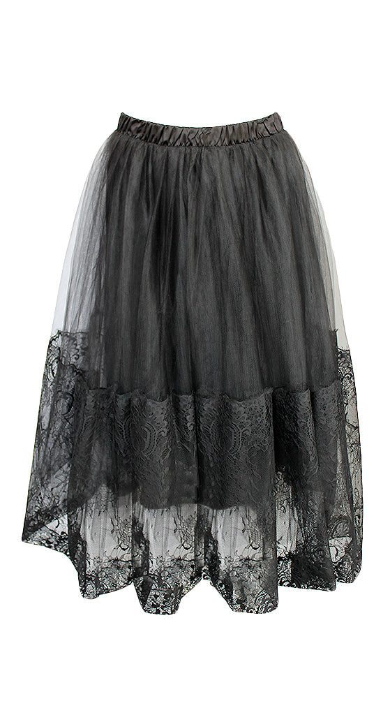 Loyd Ford Tulle Black Lace Skirt Size 6