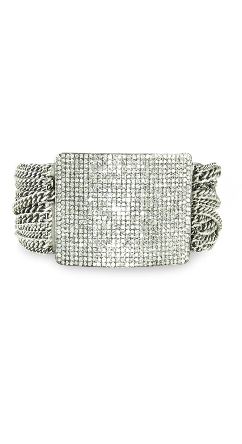 Multiple Chain Silver Bracelet with Large Diamond Plate
