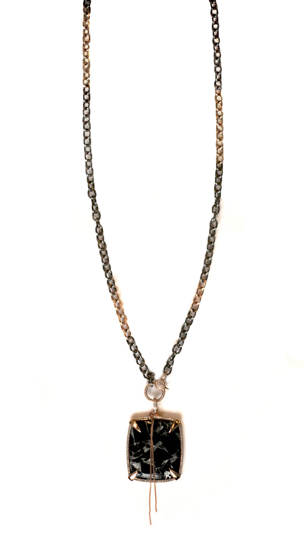 Obsian necklace, rose gold/silver