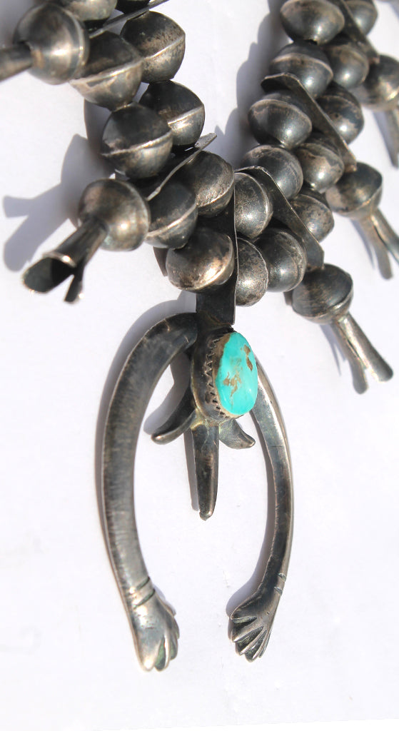 Old Pawn Native American Sterling Turquoise Squash Blossom