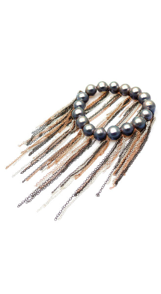 Oxidized Silver Rose Gold Fill Chain Fringe Stretch Bracelet
