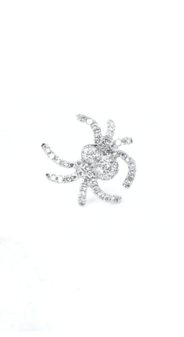 Pave Diamond Small Spider Single 18k Stud Earring