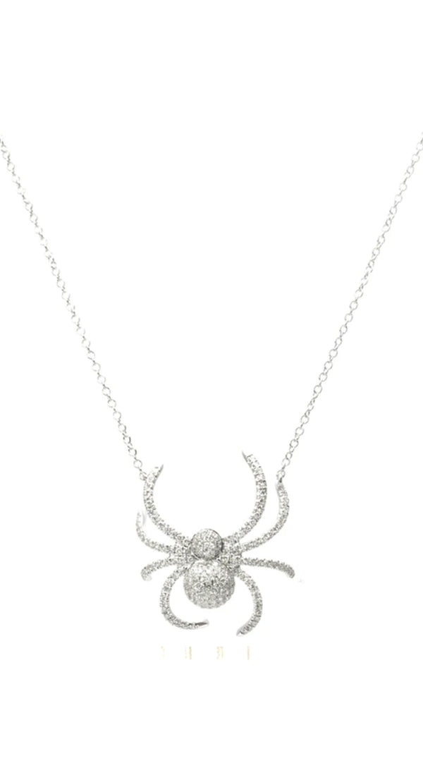 Pave Diamond Spider 18k Necklace