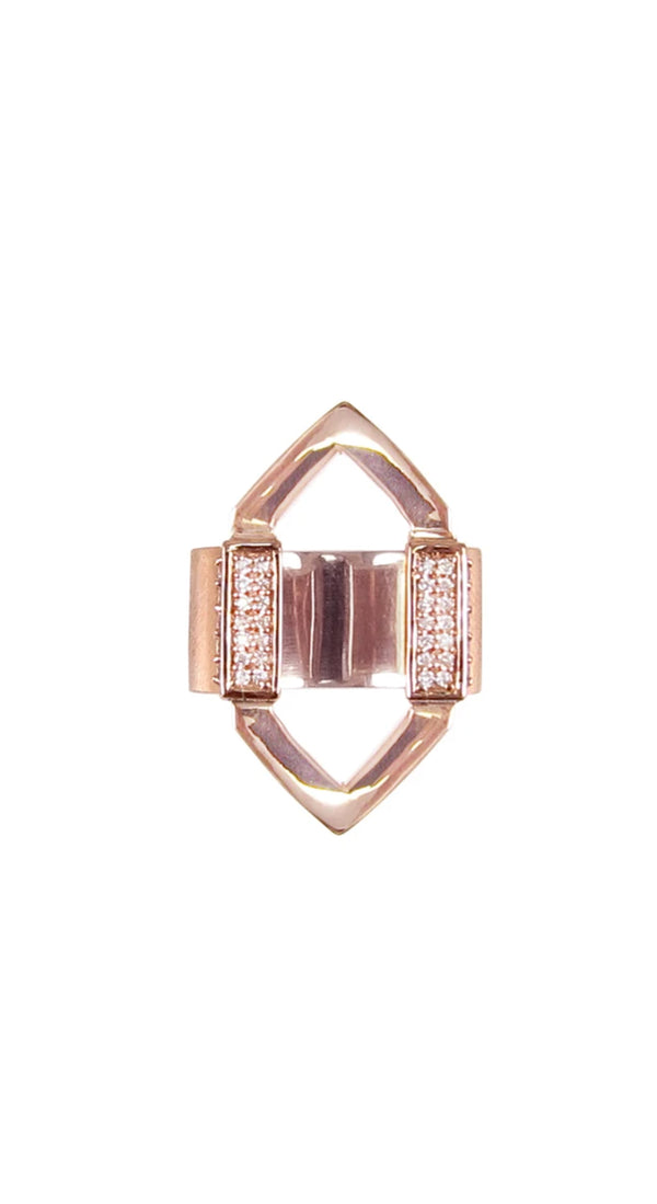 Rose Gold Open Marquis Diamond Bar Ring