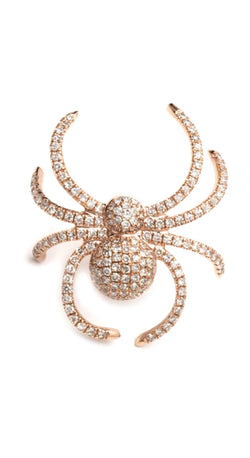 Rose Gold Pave Diamond Single Large Spider 18k Stud Earring .52cw