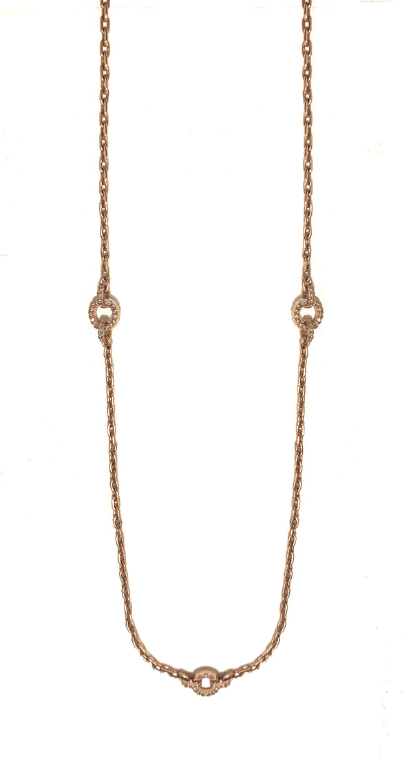 Rose Gold round diamond station chain