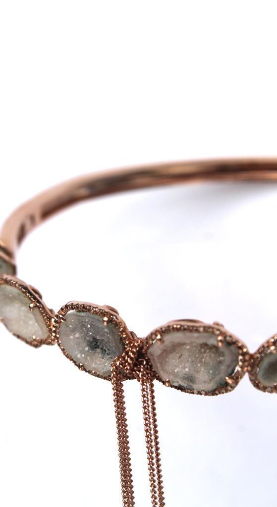 Rose Gold Pave Wrapped White Geodes Bangle