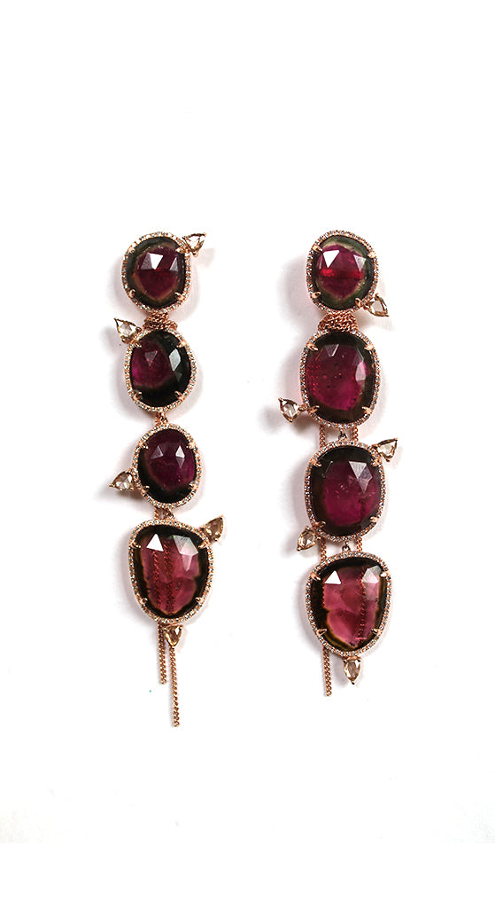 Rose Gold Tourmalines Rose Cut Diamonds Wrapped Fringe Earrings
