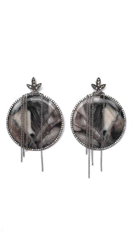 Sterling Silver Rare Fossil Channel Wood Oregon 100 Million Year Old Diamond Bezel And Leaf Posts Earrings