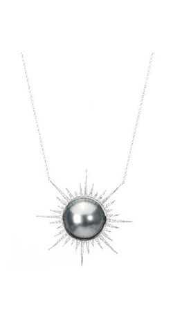 Tahitian Pearl Slice Pave Diamond Small Starburst 18k Necklace