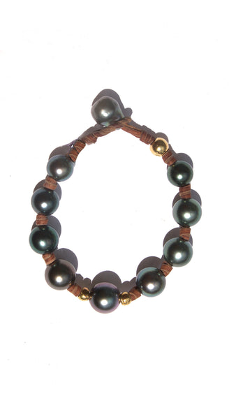 Tahitian Pearls on Knotted Leather Reveur Bracelet