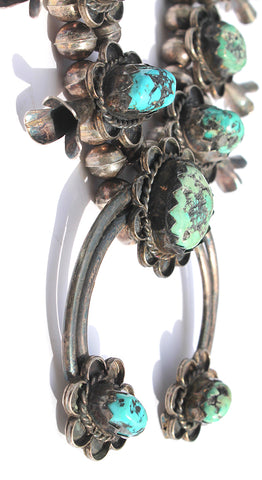 Vintage Native American Navajo Green Turquoise Sterling Silver Squash Blossom