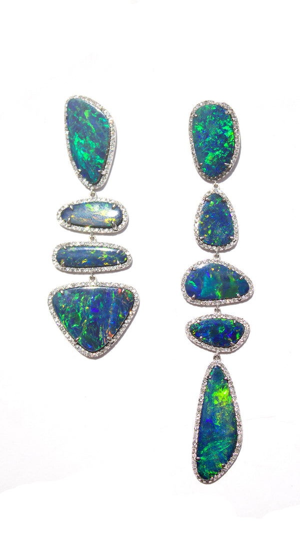 White Gold Mismatched Boulder Opals In Pave Earrings
